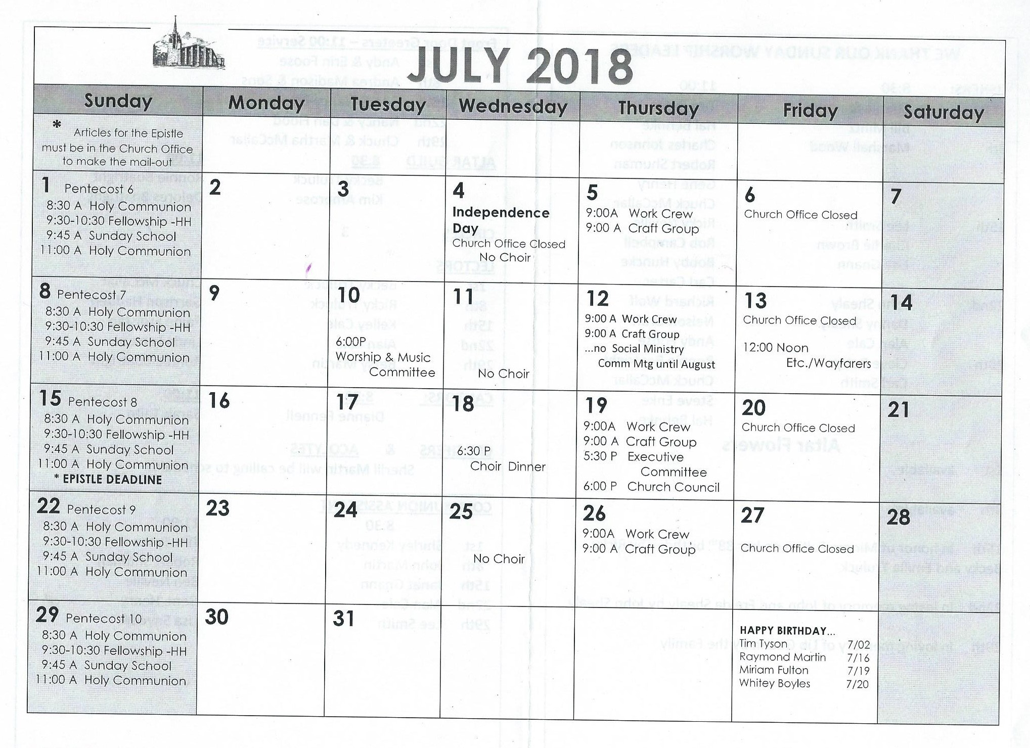 Elca Church Year Calendar 2019 With July 2018 St Paul S Evangelical Lutheran