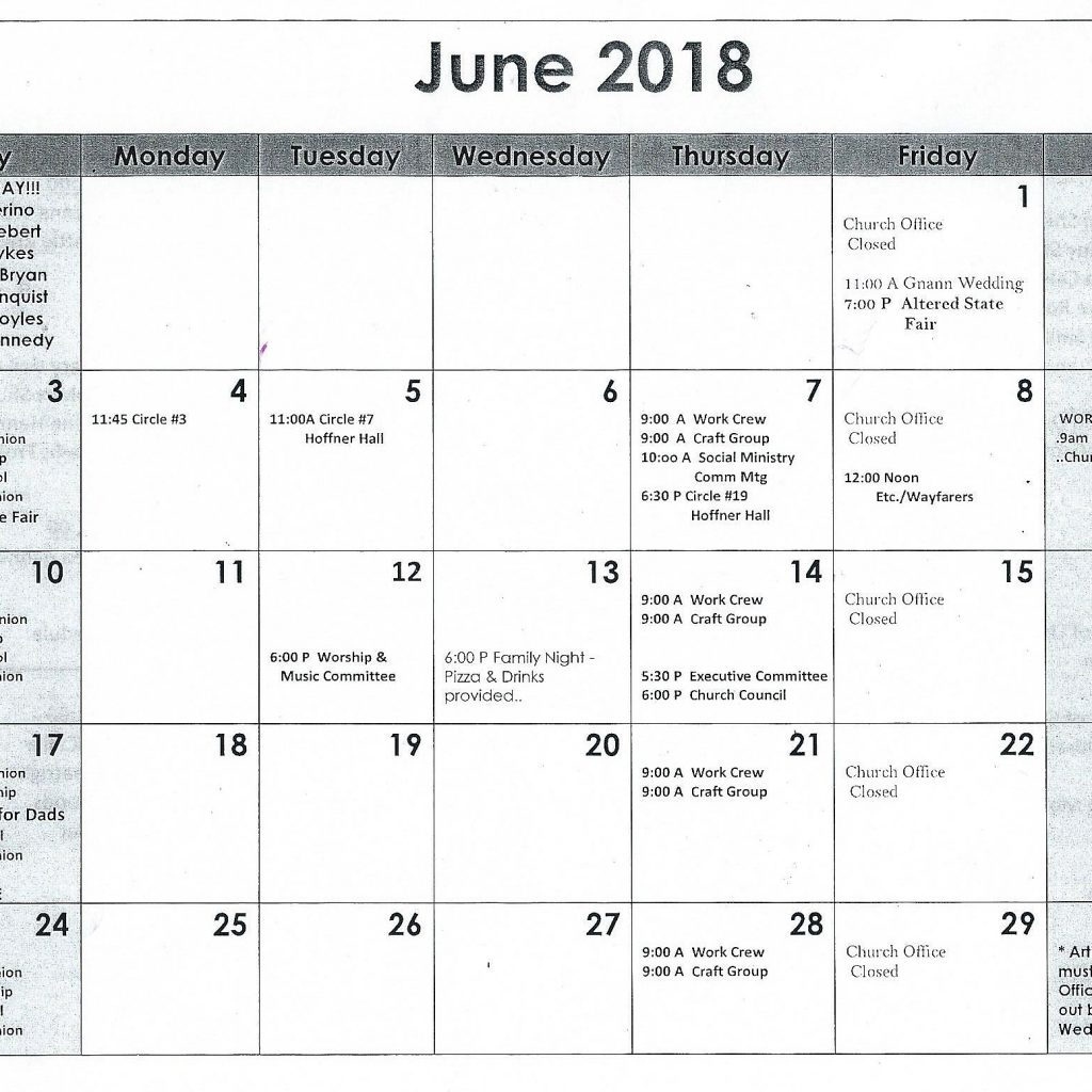 Elca Church Year Calendar 2019 With June 2018 St Paul S Evangelical Lutheran