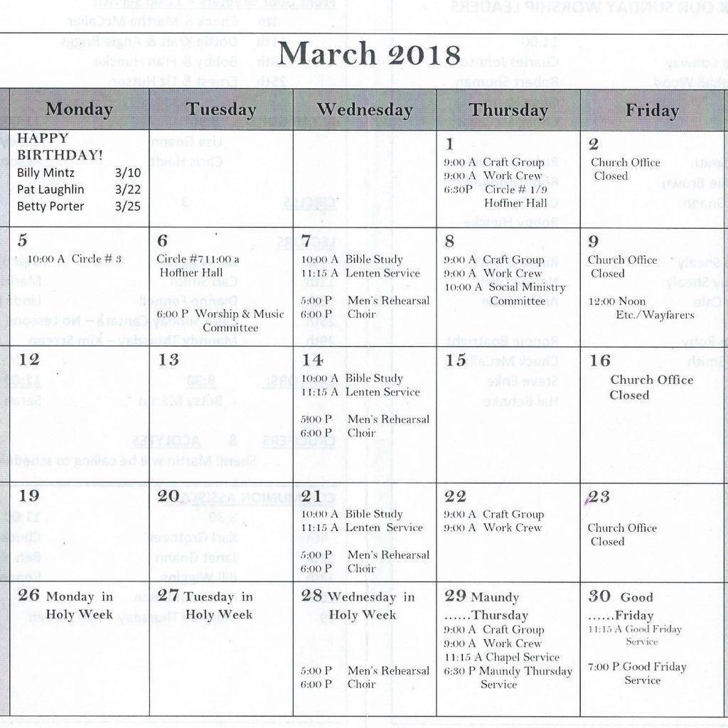 Elca Church Year Calendar 2019 With March 2018 St Paul S Evangelical Lutheran