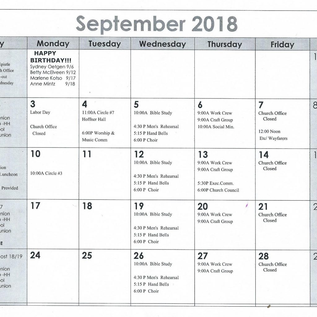 Elca Church Year Calendar 2019 With September 2018 St Paul S Evangelical Lutheran