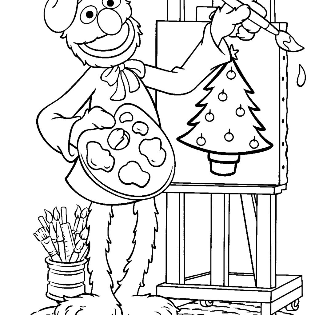 Elmo Christmas Coloring Pages Printable With Image Of Sesame Street