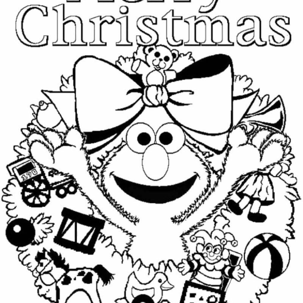 Elmo Christmas Coloring Pages Printable With Sesame Street Merry Page New