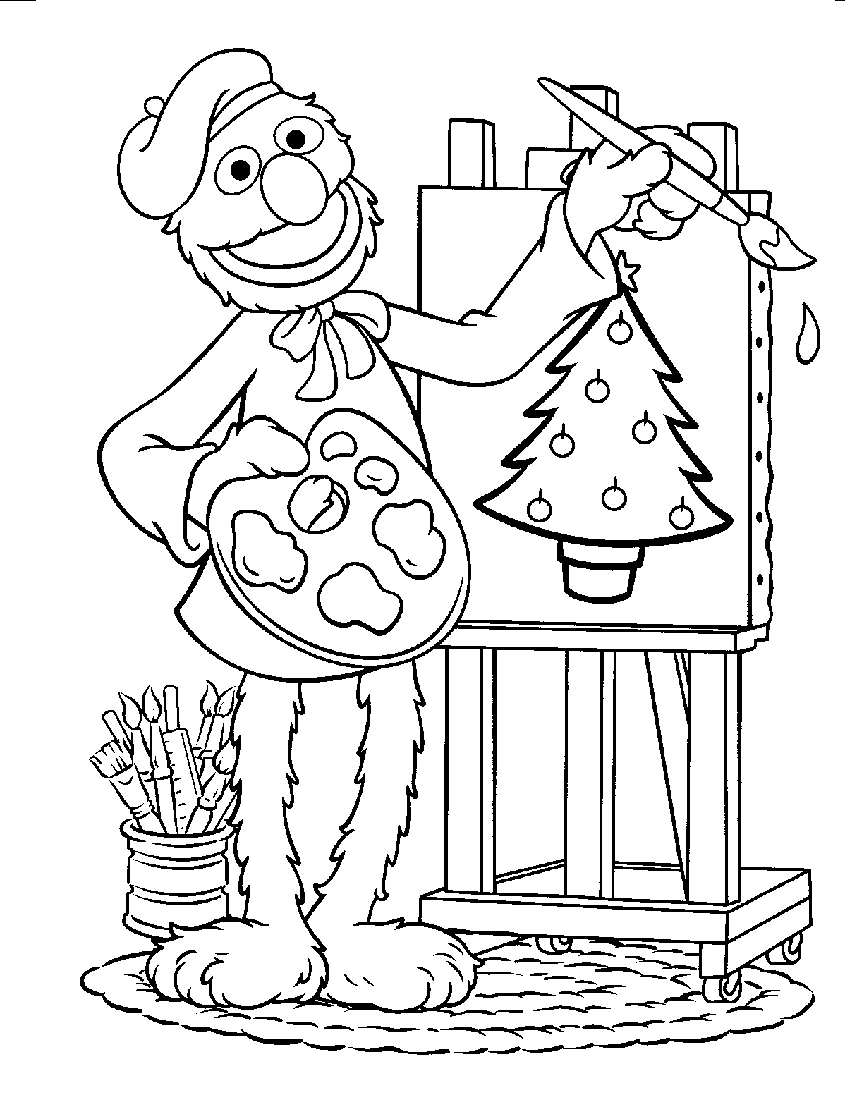 Elmo Christmas Coloring Pages With Image Of Sesame Street