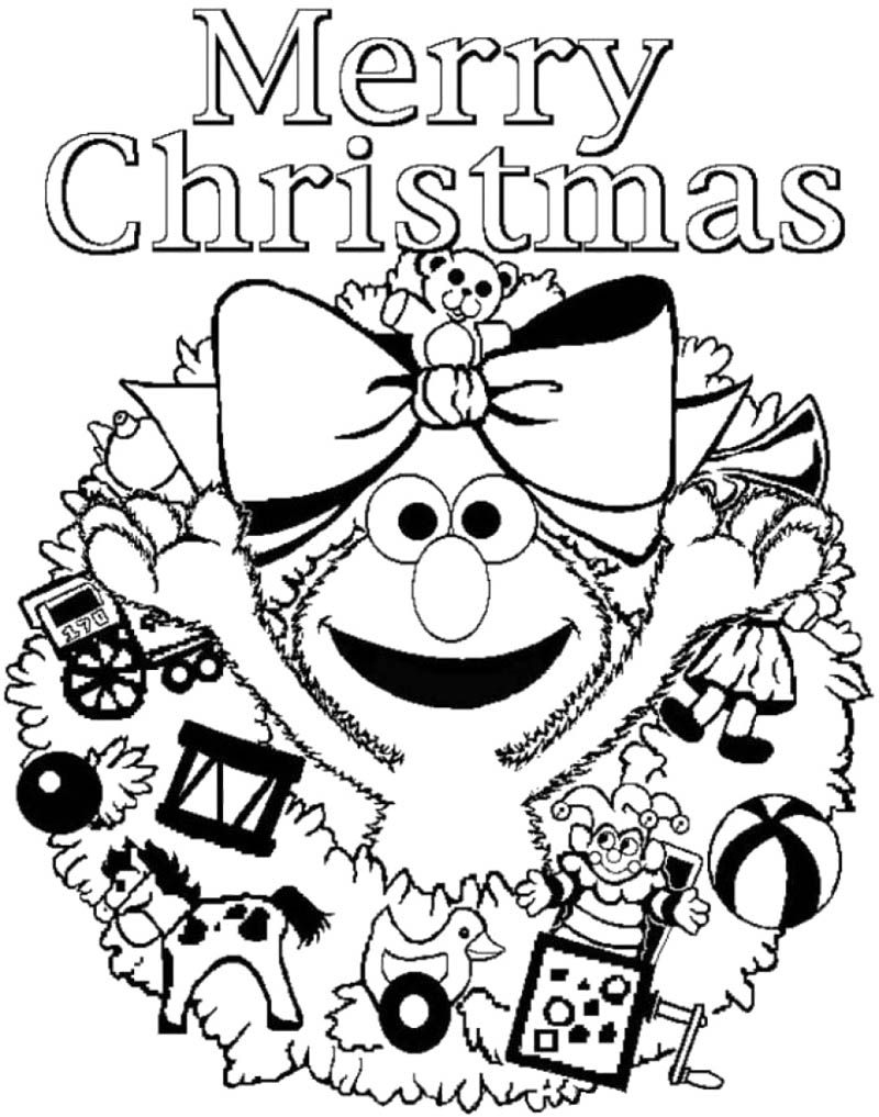 Elmo Christmas Coloring Pages With Sesame Street Merry Page New