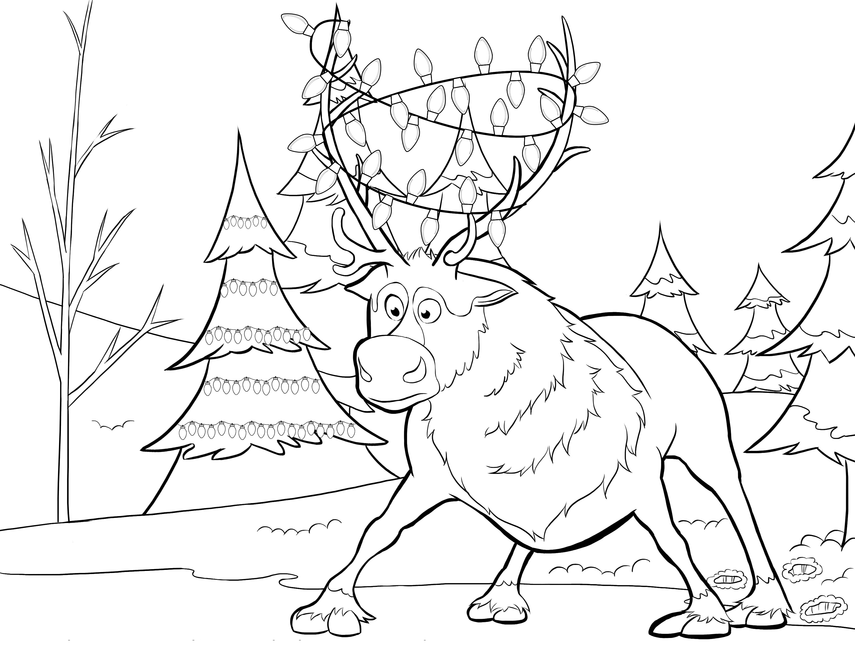 Elsa Christmas Coloring Pages Printable With Frozen