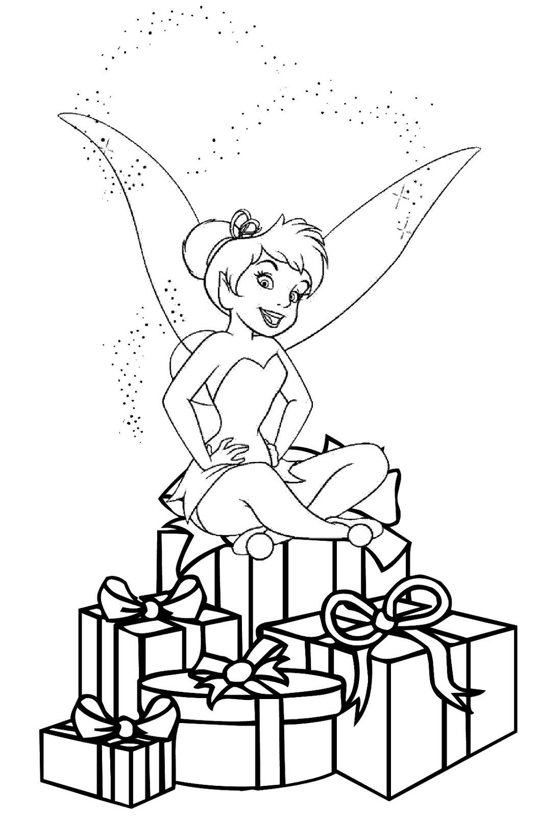 Elsa Christmas Coloring Pages Printable With Tinkerbell TimyKids