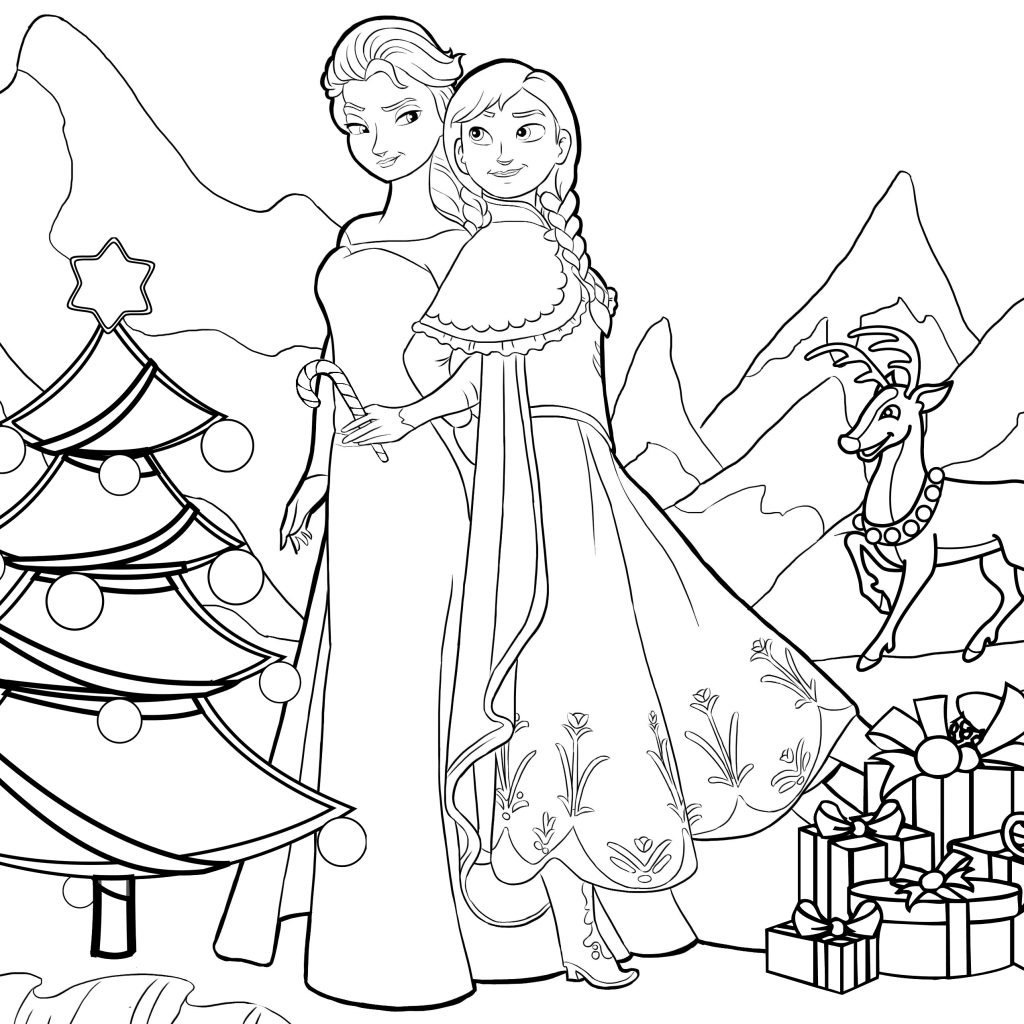 Elsa Christmas Coloring Pages With Frozen