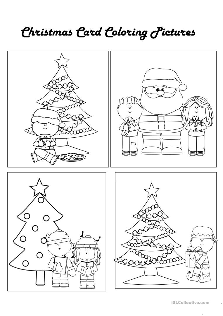 Esl Christmas Coloring Worksheets With Color Your Own Cards Worksheet Free ESL Printable
