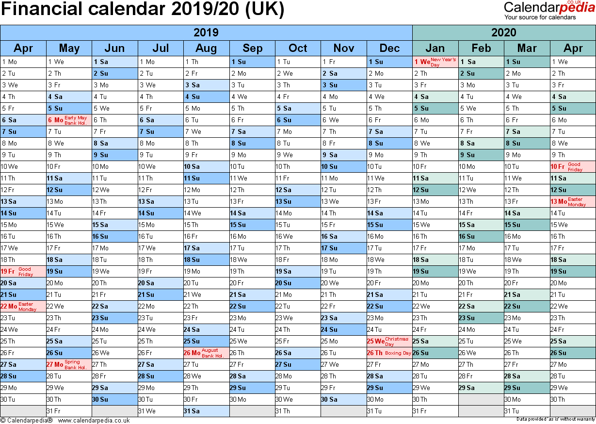 Financial Year Calendar 2019 20 Australia With Calendars UK In PDF Format