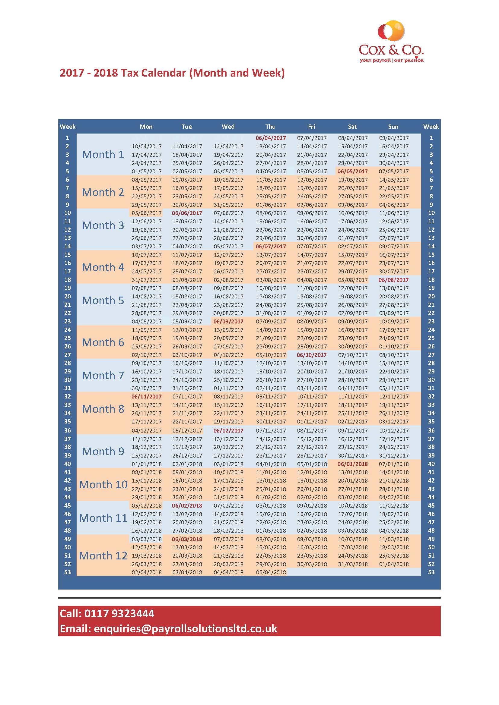 Fiscal Year 2019 Accounting Calendar With FREE Tax Week Month Payroll