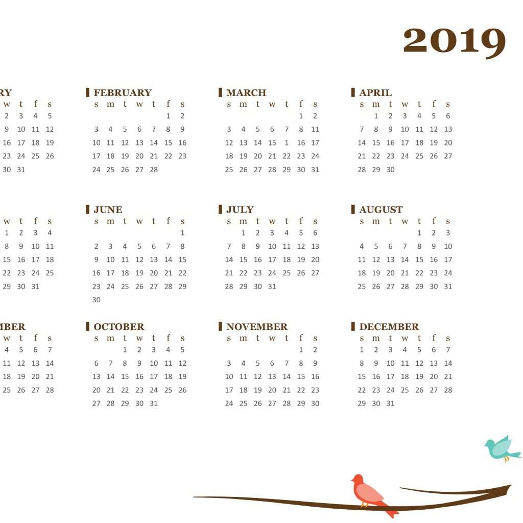 Fiscal Year 2019 Accounting Calendar With Yearly Sun Sat