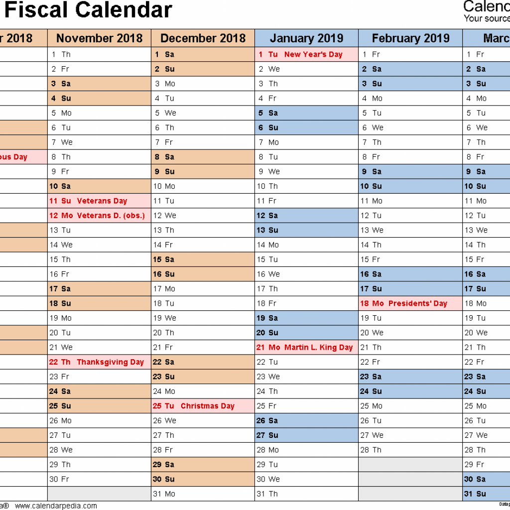 Fiscal Year 2019 Calendar Excel With Calendars As Free Printable Templates