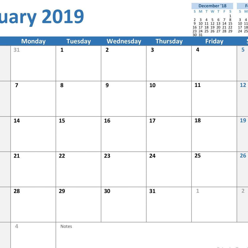 Fiscal Year 2019 Calendar Excel With Calendars Office Com