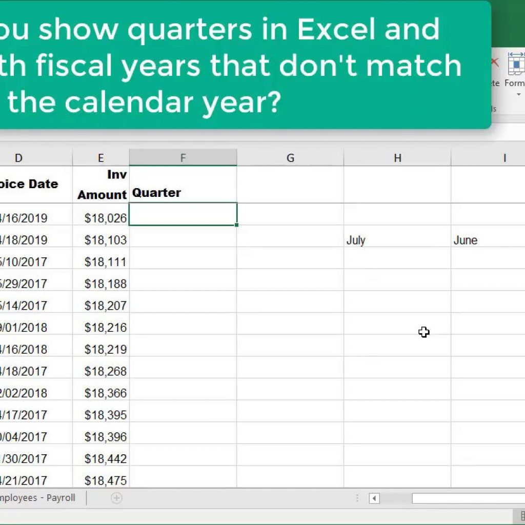 Fiscal Year 2019 Calendar Excel With Choose Month Function For Quarters Where Is Not