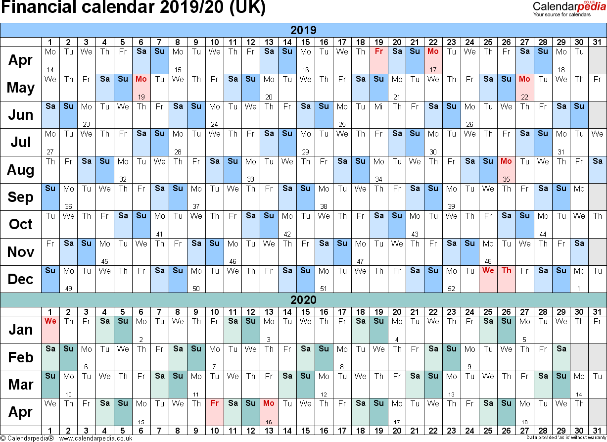 Fiscal Year 2019 Calendar Excel With Financial Calendars 20 UK In Microsoft Format