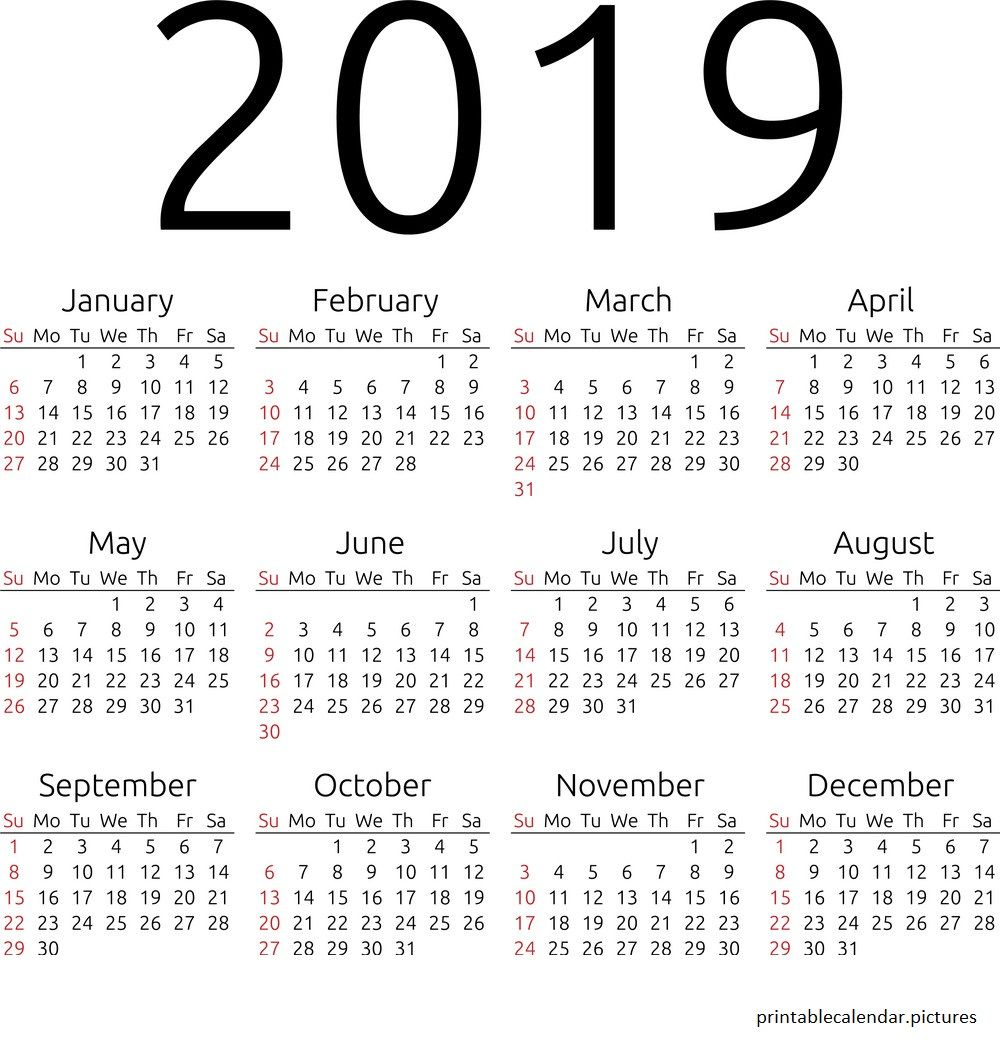 Fiscal Year 2019 Calendar Excel With Printable Pinterest