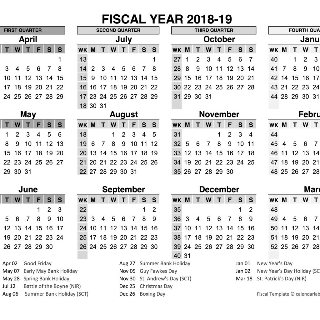 Fiscal Year 2019 Calendar Printable With 2018 In Word PDF Excel Format Office