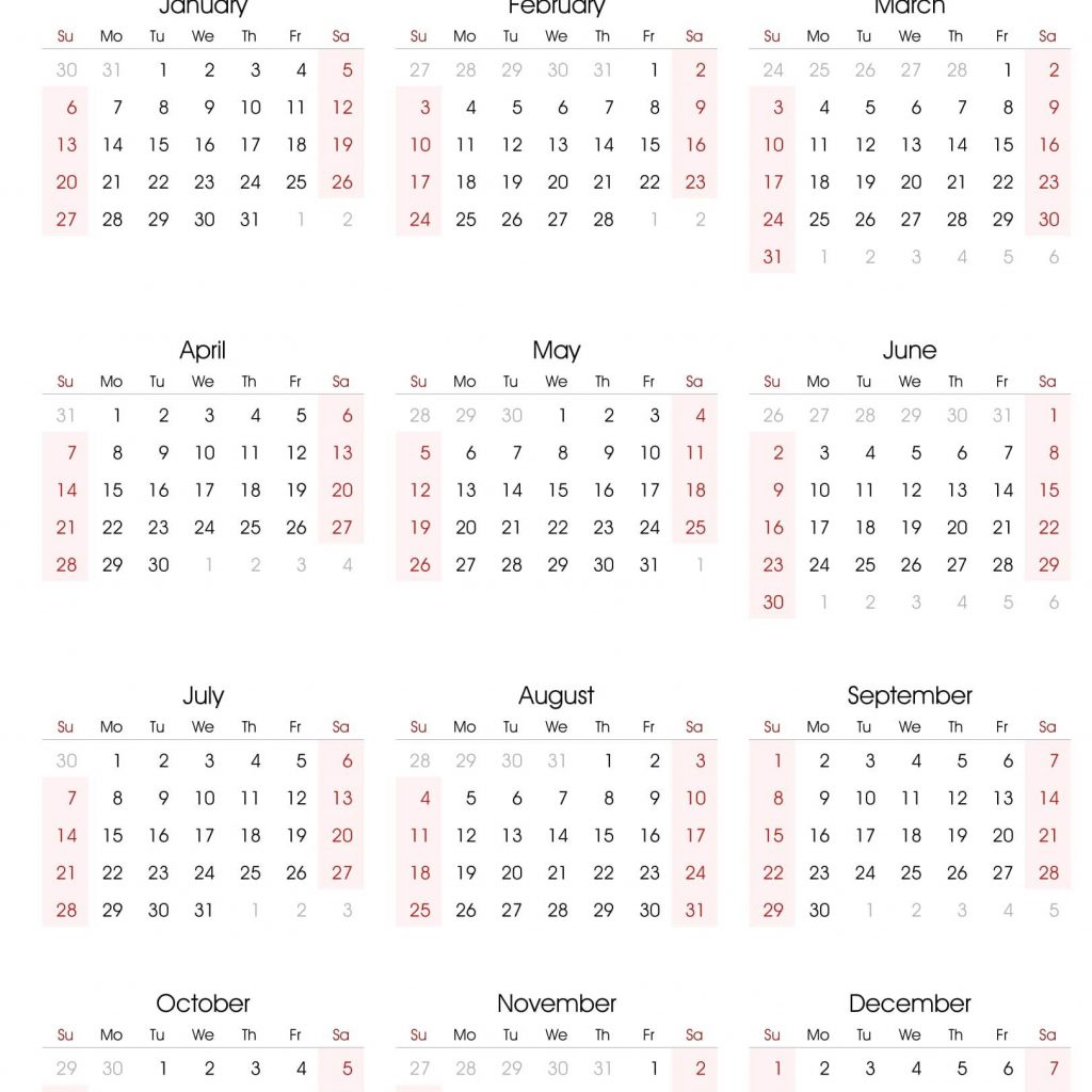 Fiscal Year 2019 Calendar Printable With Excel Template Free 2018