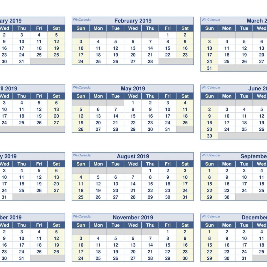 Fiscal Year 2019 Calendar Printable With Paper Sheets