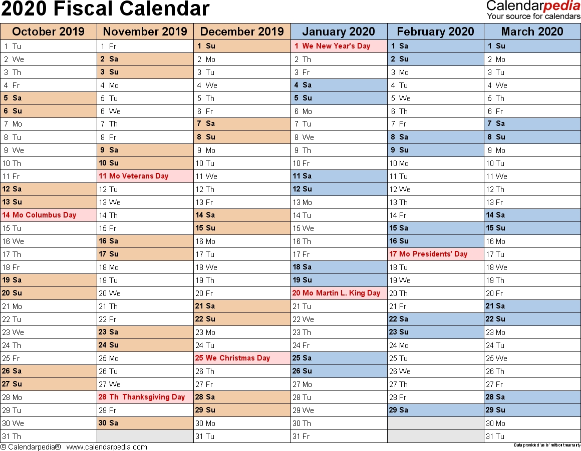 Fiscal Year 2019 Calendar Printable With Vs Template Design