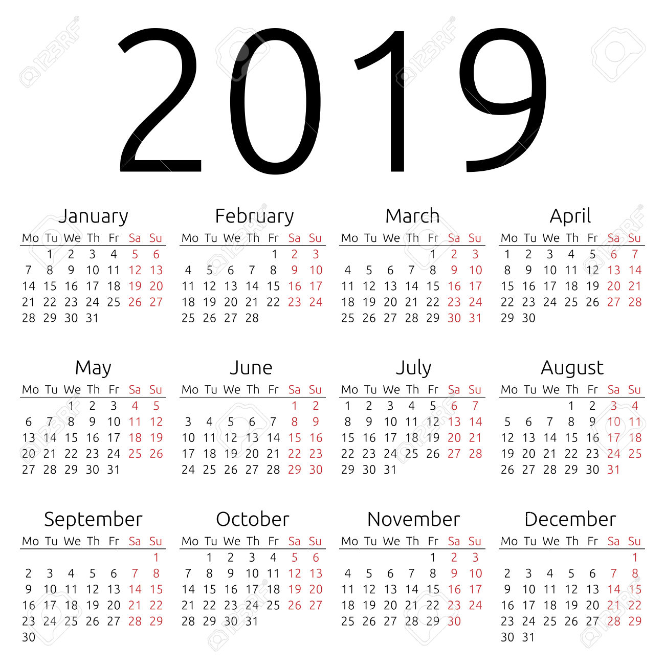 Fiscal Year 2019 Calendar Printable With Yearly