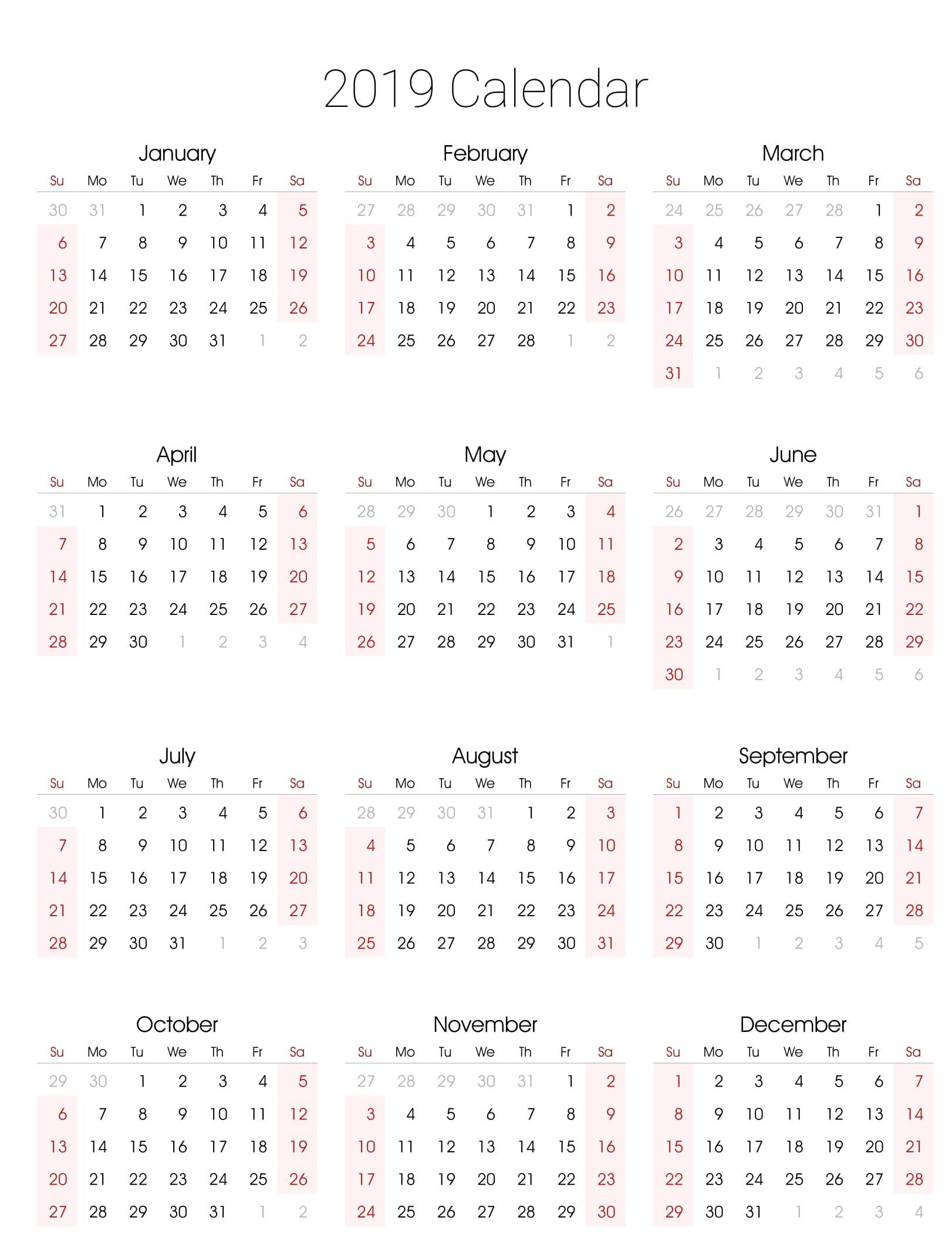 Fiscal Year 2019 Calendar Template With Excel Free Printable 2018
