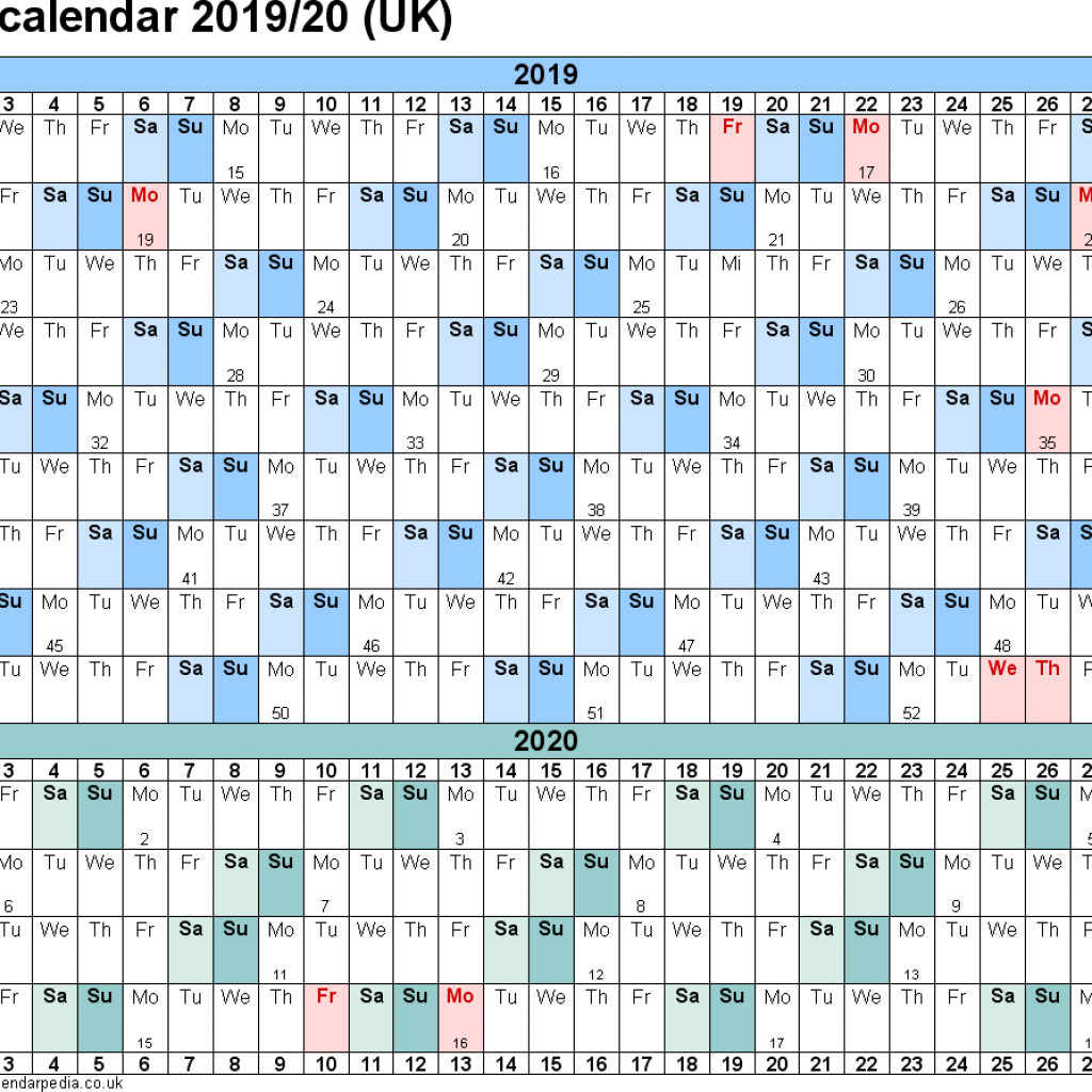 Fiscal Year 2019 Calendar Template With Financial Calendars 20 UK In Microsoft Word Format