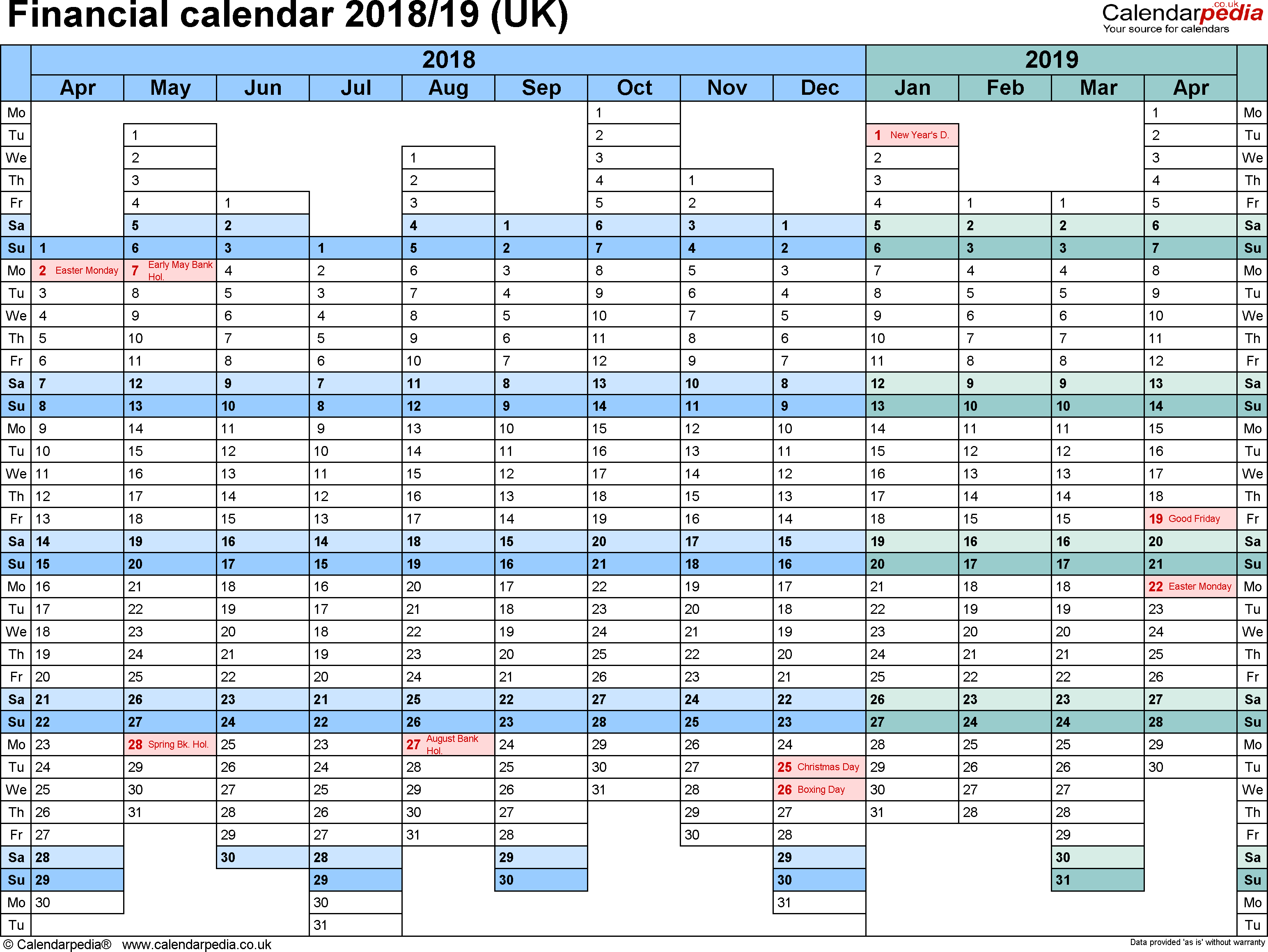 Fiscal Year 2019 Calendar Template With Financial Calendars 2018 19 UK In PDF Format