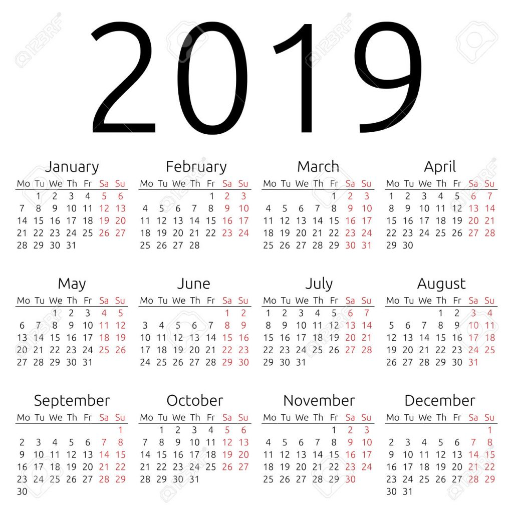 Fiscal Year 2019 Calendar Template With Printable Yearly