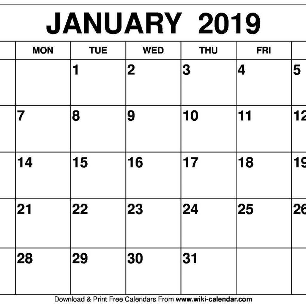 Fiscal Year 2019 Calendar Usa With Blank January Printable