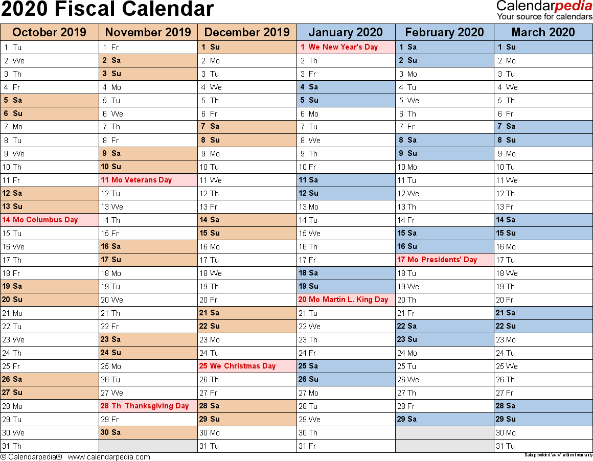 Fiscal Year 2019 Calendar Usa With Calendars 2020 As Free Printable PDF Templates