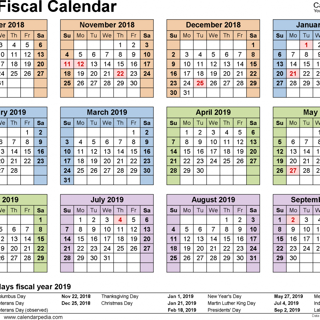 Fiscal Year 2019 Calendar Usa With Calendars As Free Printable Word Templates