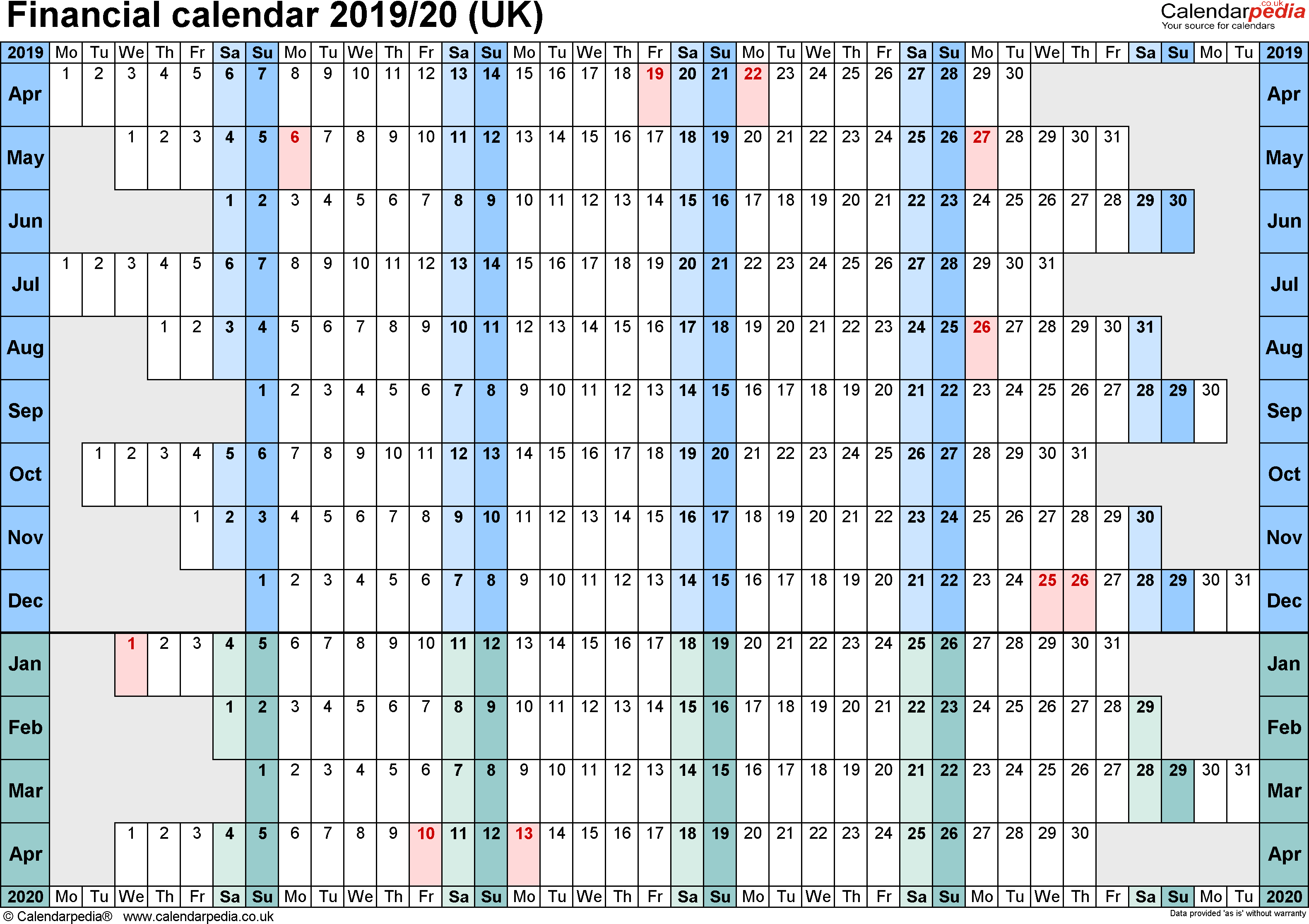 Fiscal Year 2019 Calendar Usa With Financial Calendars 20 UK In PDF Format