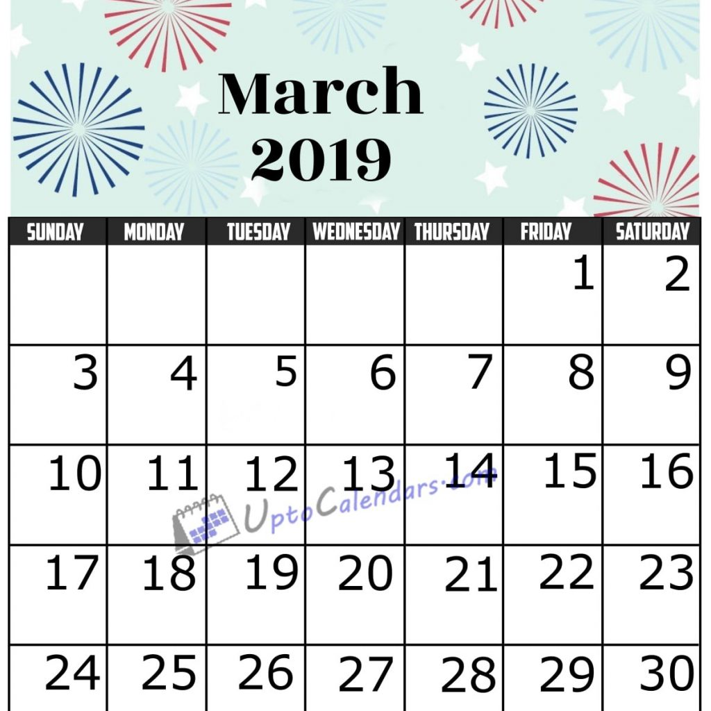 Fiscal Year 2019 Calendar Usa With March Printable Template Holidays PDF Word Excel