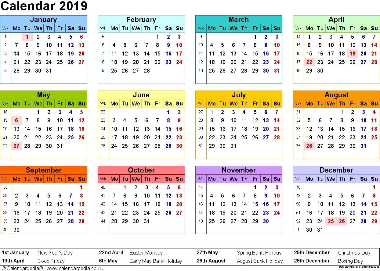 Fiscal Year 2019 Calendar Usa With Qld Pdf Printable Coloring Page For Kids