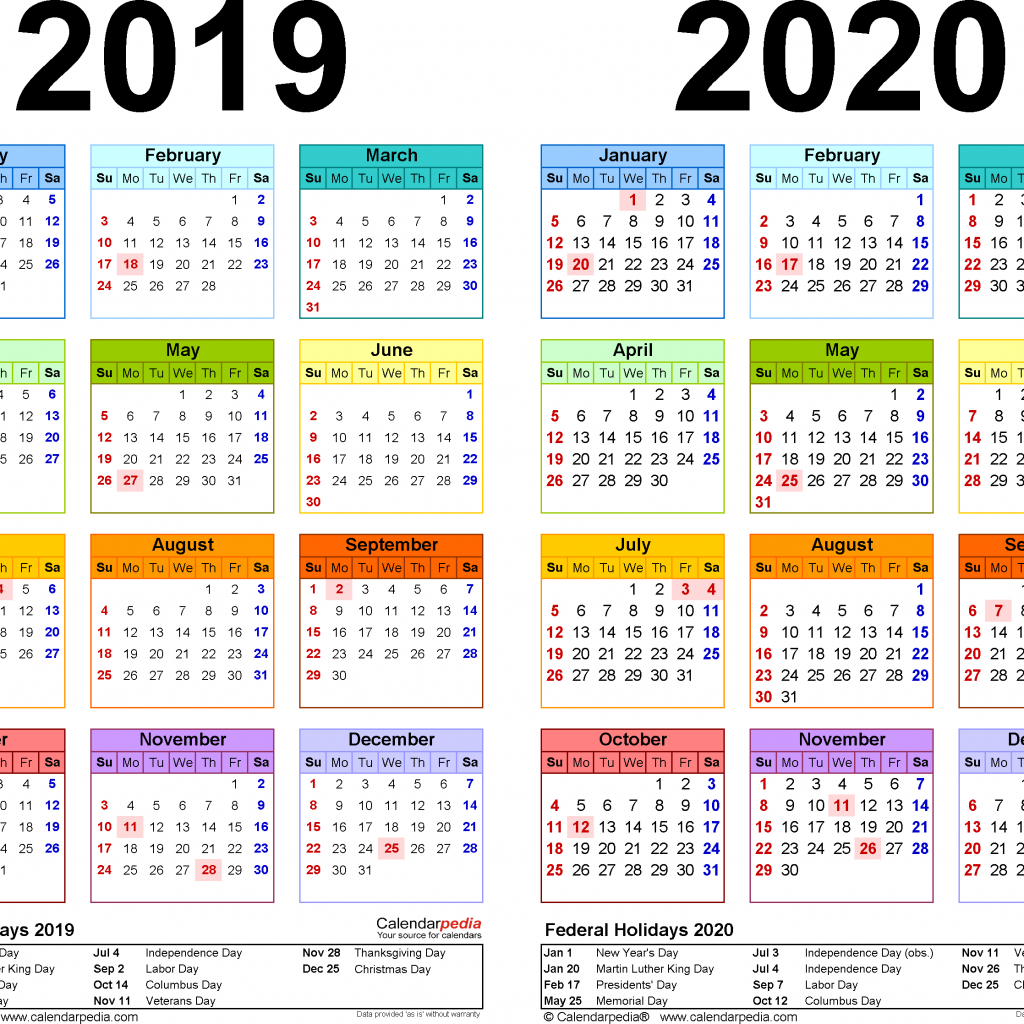 Fiscal Year 2019 Calendar With 2020 Free Printable Two Word Calendars