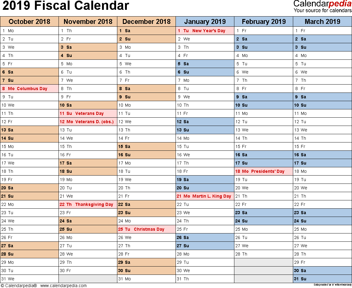 Fiscal Year 2019 Calendar With Calendars As Free Printable Word Templates