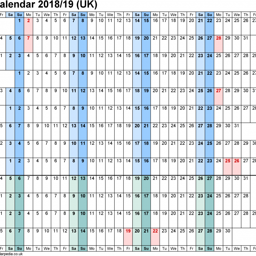 Fiscal Year 2019 Calendar With Financial Calendars 2018 19 UK In PDF Format