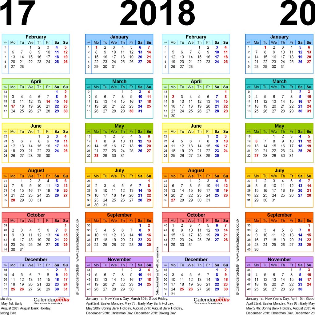 Fiscal Year 2019 Calendar With Three Calendars For 2017 2018 UK PDF