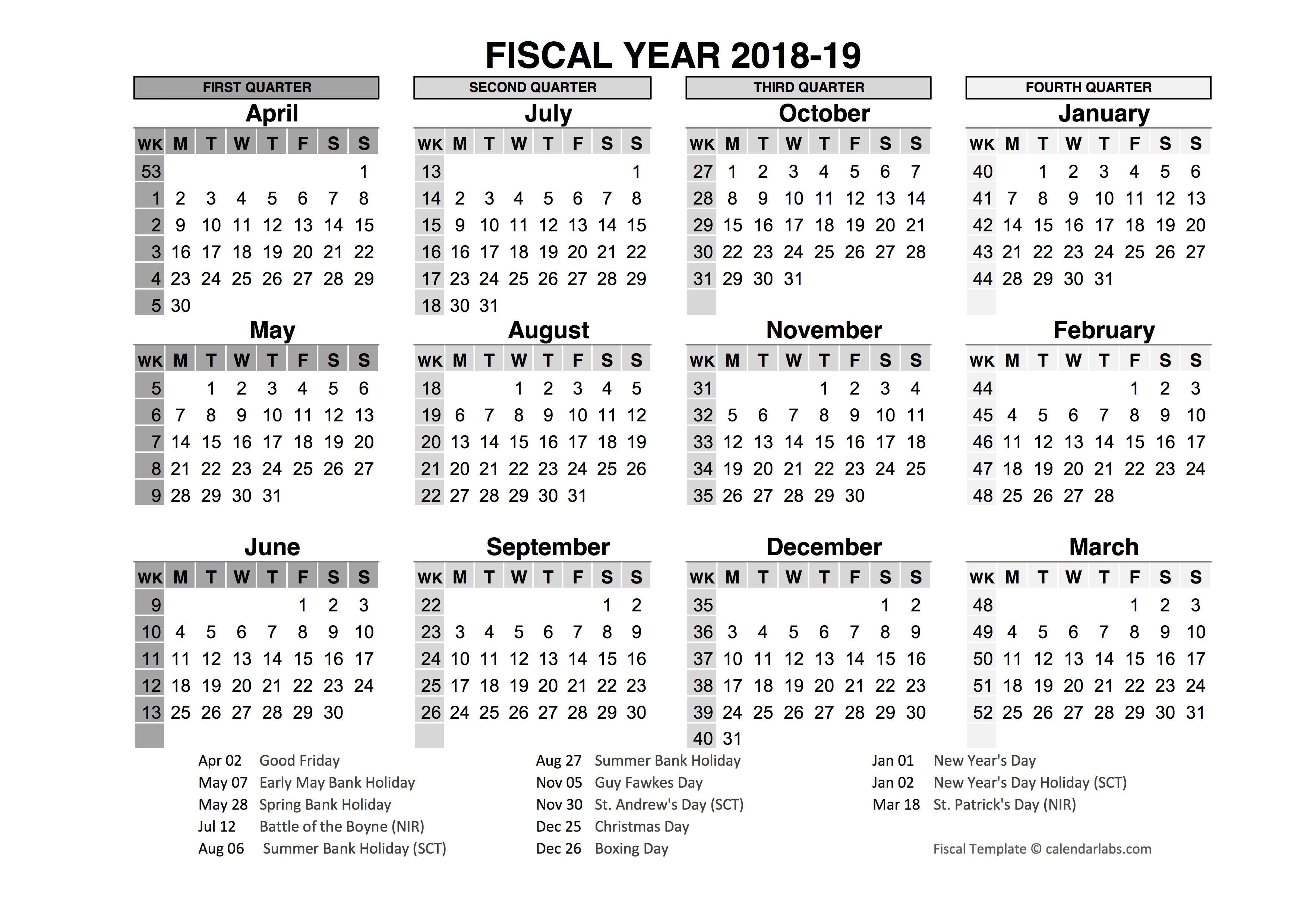 Fiscal Year Calendar 2019 Quarters With 2018 In Word PDF Excel Format Office