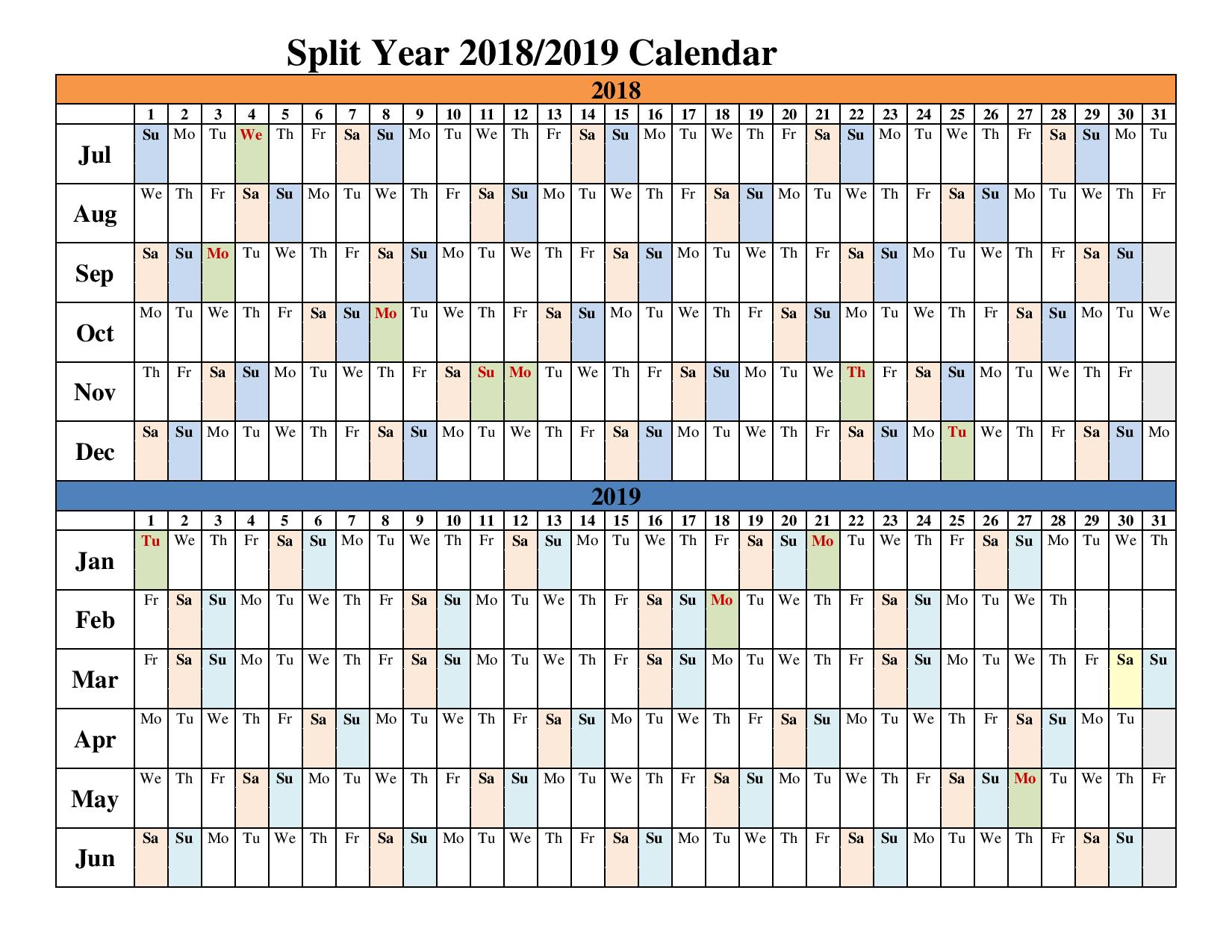Fiscal Year Calendar 2019 Quarters With 2018 Split Calendars Blank Templates Office