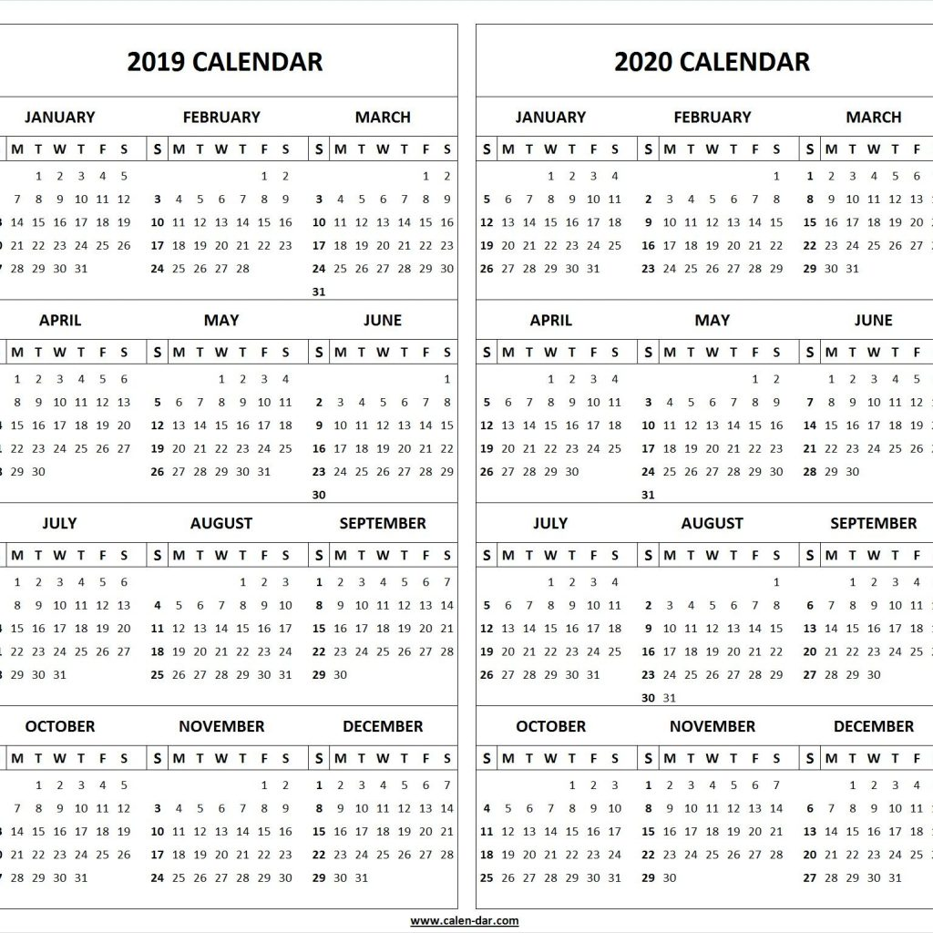 Fiscal Year Calendar 2019 Quarters With 4 Four 2018 2020 2021 Printable Template