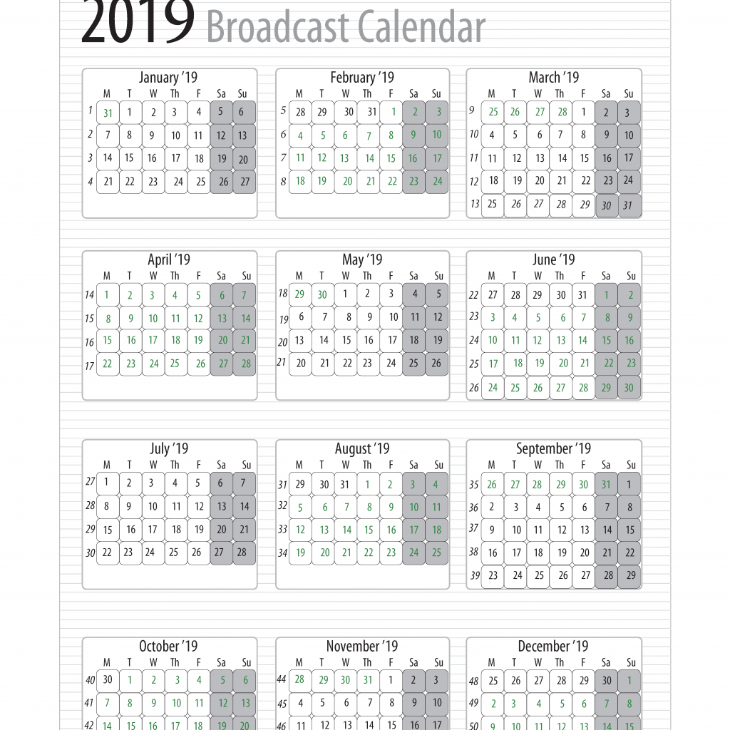 Fiscal Year Calendar 2019 Quarters With Broadcast Calendars RAB Com