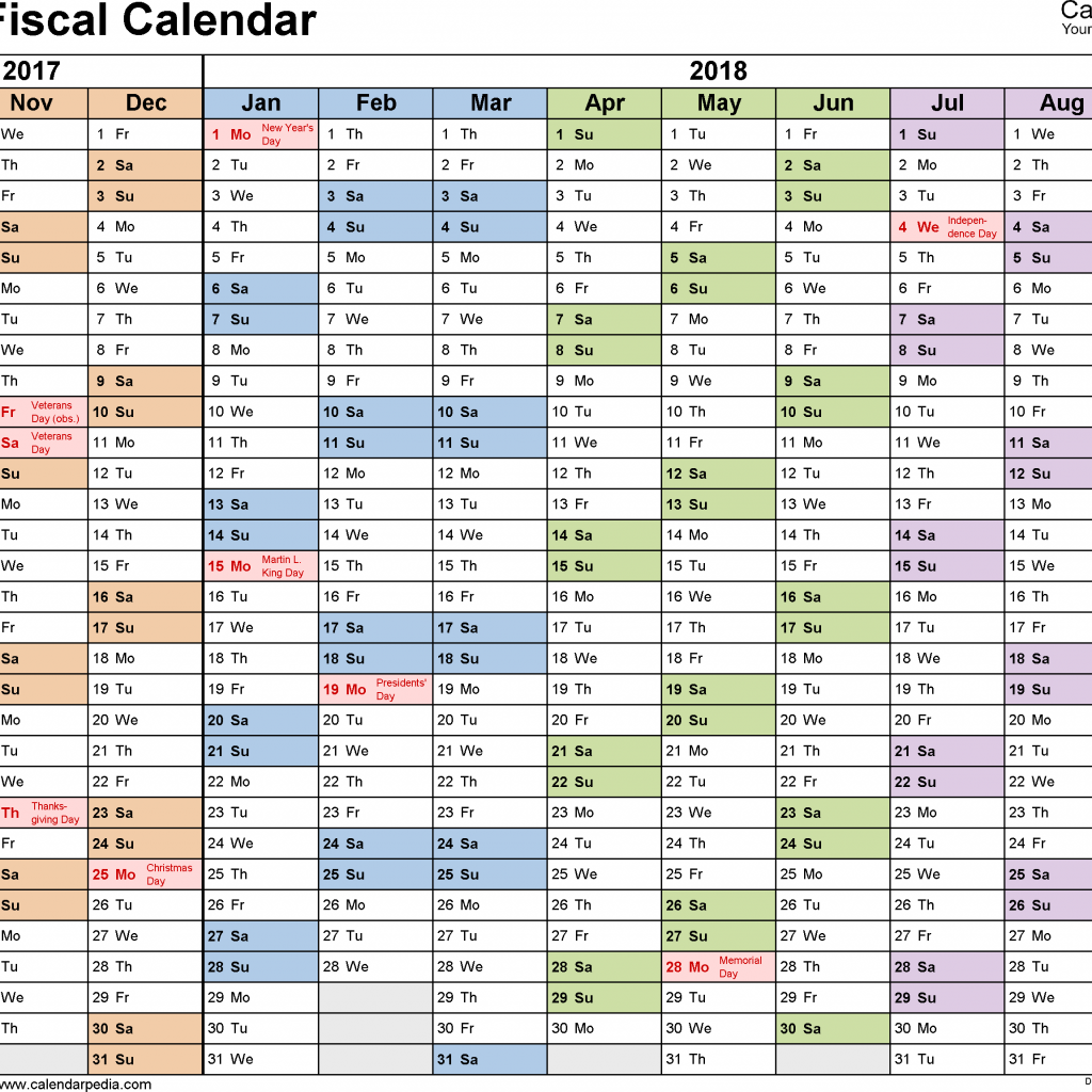Fiscal Year Calendar 2019 Quarters With Calendars 2018 As Free Printable PDF Templates