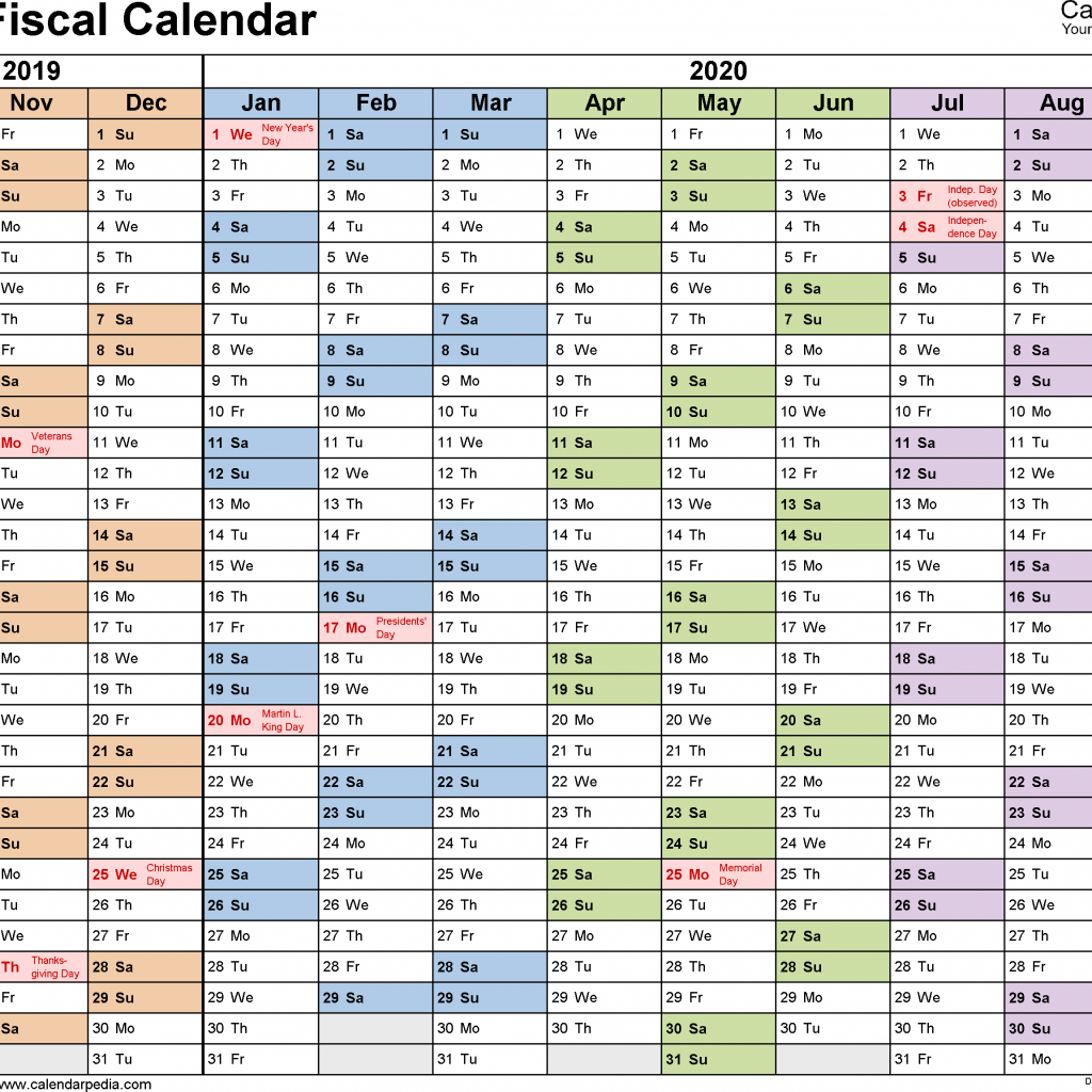 Fiscal Year Calendar 2019 Quarters With Calendars 2020 As Free Printable PDF Templates