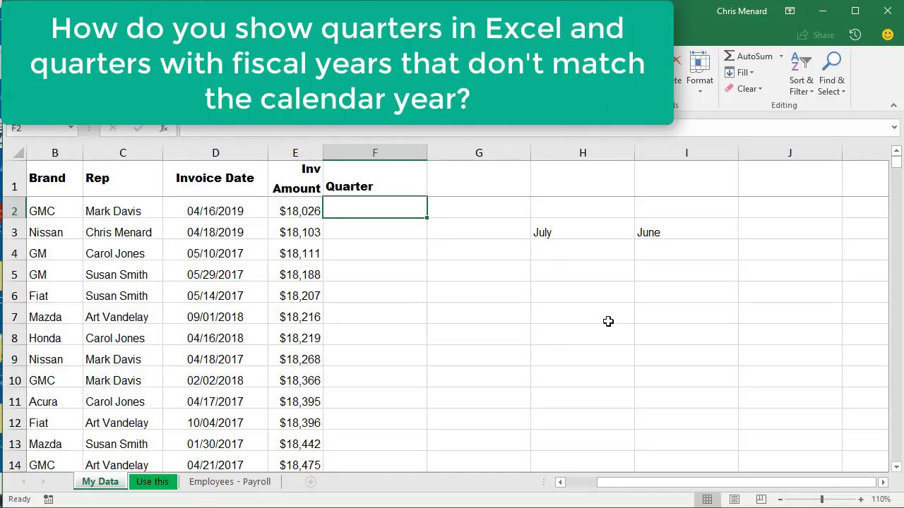 Fiscal Year Calendar 2019 Quarters With Excel Choose Month Function For Where Is Not