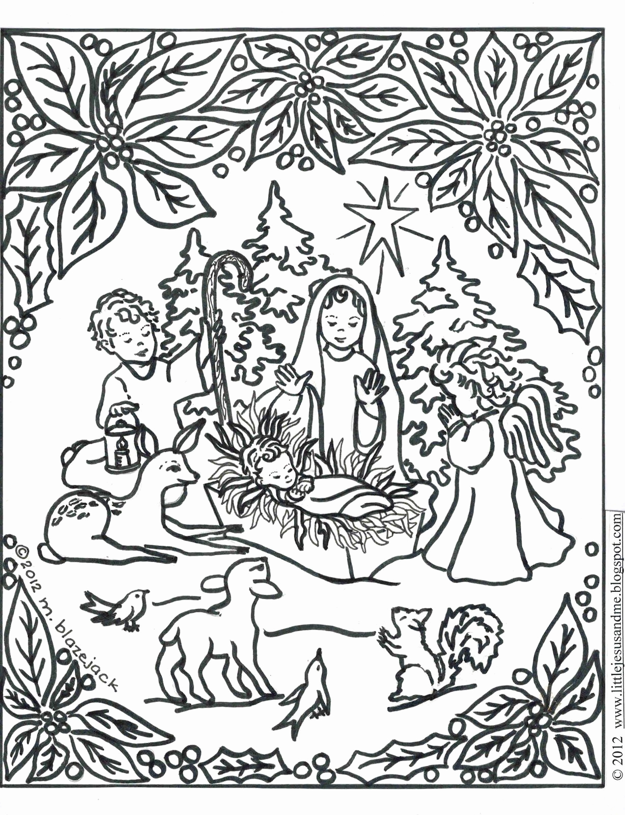 Free Christian Christmas Coloring Pages Printable With Jesus Page For Kids