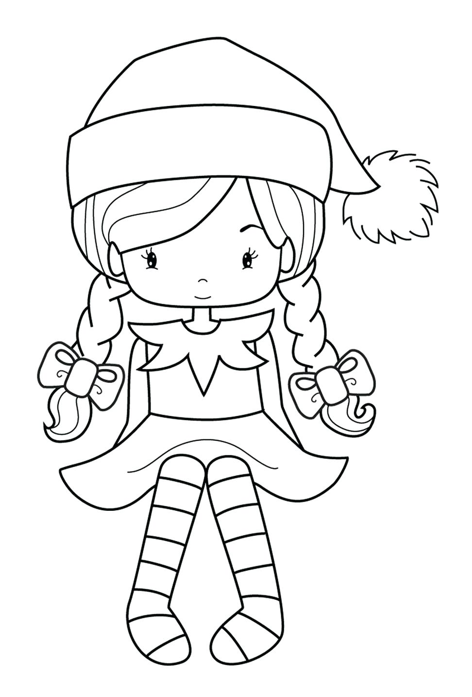 Free Christmas Coloring Pages Elf With Cute Elves