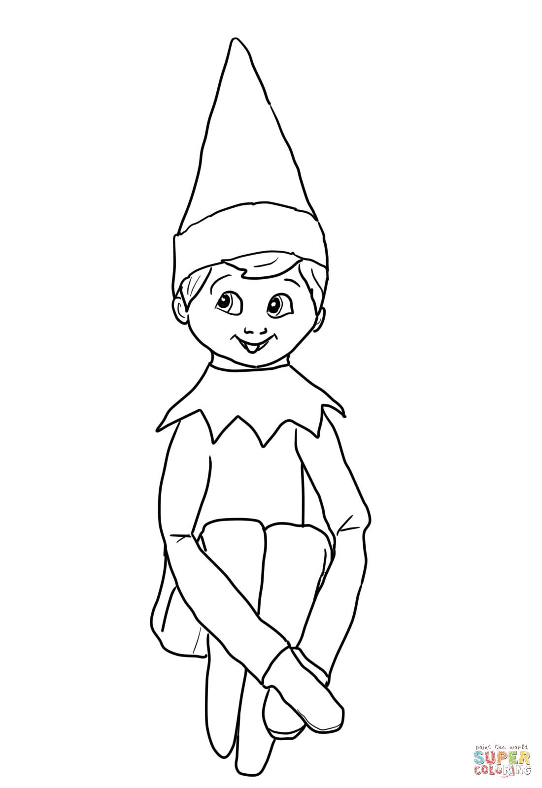 Free Christmas Coloring Pages Elf With Girl On The Shelf You Might Also Be Interested