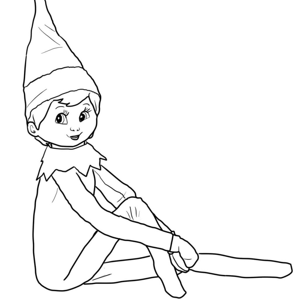 Free Christmas Coloring Pages Elf With Girl The Shelf